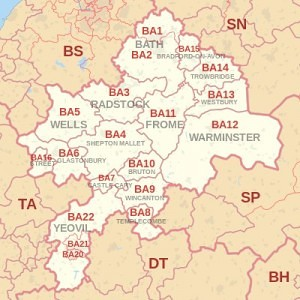 Post code map of Bath areas we buy property fast