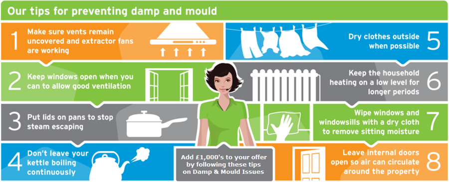 graph giving tips for preventing damp and mould in your home